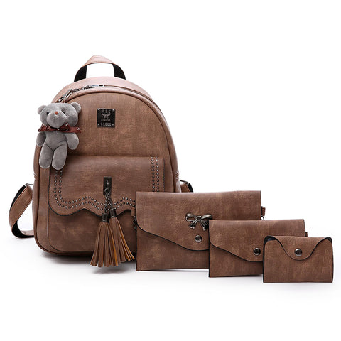 Vintage School Backpack For Women With 3 Clutches Free