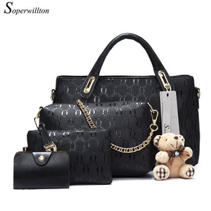 Real Leather Handbag Set For Women 4pc