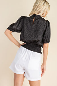 Black Cheetah Satin Top