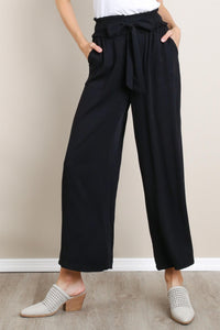 Black Smocked Waist Pants
