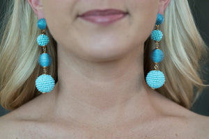 Blue Four Drop Thread And Seed Bead Earrings