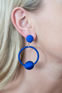 Royal Blue Thread Wrap Ball Hoops