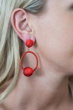 Red Thread Wrap Ball Hoops