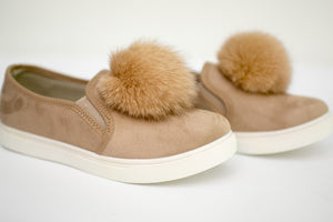 Tan Pom Pom Shoes