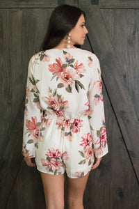 Off White Floral Romper