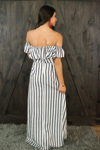 Black/White Striped Romper/Maxi
