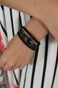 Black Three Strap Bracelet