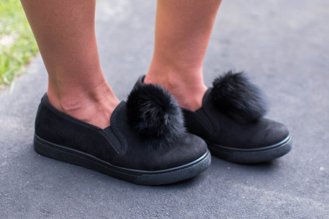 Black Pom Pom Shoes