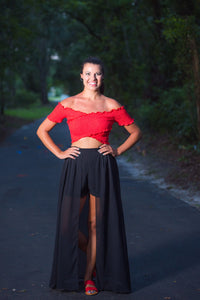 Black Shorts With Maxi Length Skirt Pannel