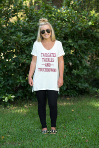 White/Burgundy Game Day Tee
