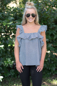 Black/White Gingham Top