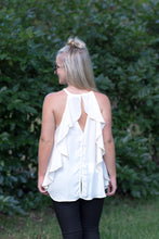 Stone Ruffle Back Top