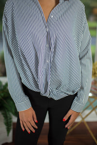 Navy/White Striped Button Down