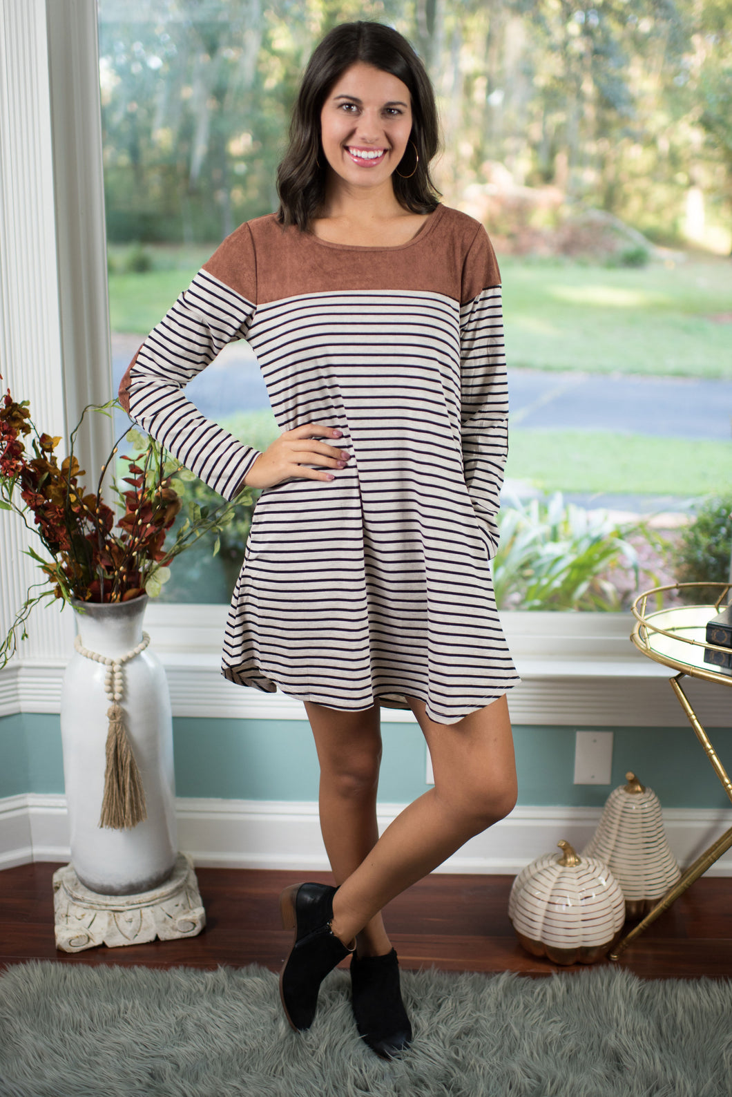 Taupe/Black Striped Dress