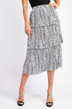 Pleated Tiered Leopard Skirt
