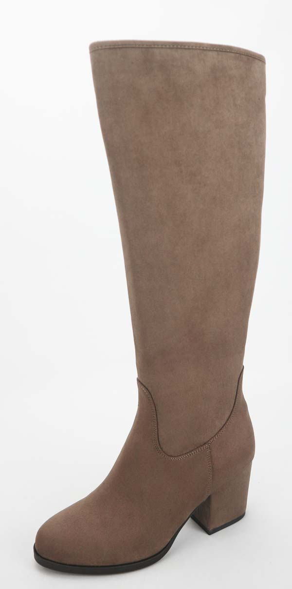 Grey Suede Knee High Boots
