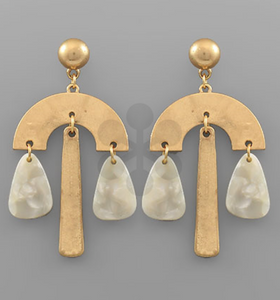 White/Worn Gold Acrylic & Metal Geometric Earrings