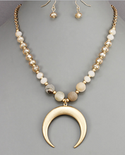 Crescent Beaded Horn Necklace
