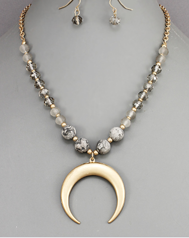 Gray Crescent Beaded Horn Necklace