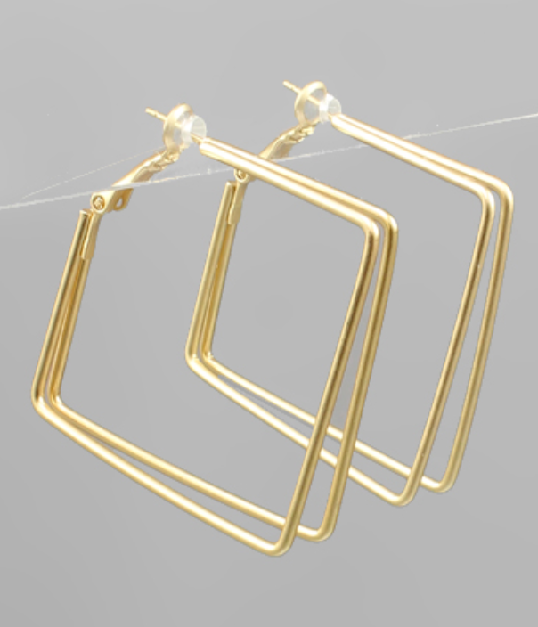 Gold Square Double Thin Hoop Earrings