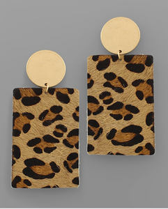 Cheetah Leather Rectangle Earrings
