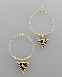 Leather Disc/Beaded Triangle Earrings