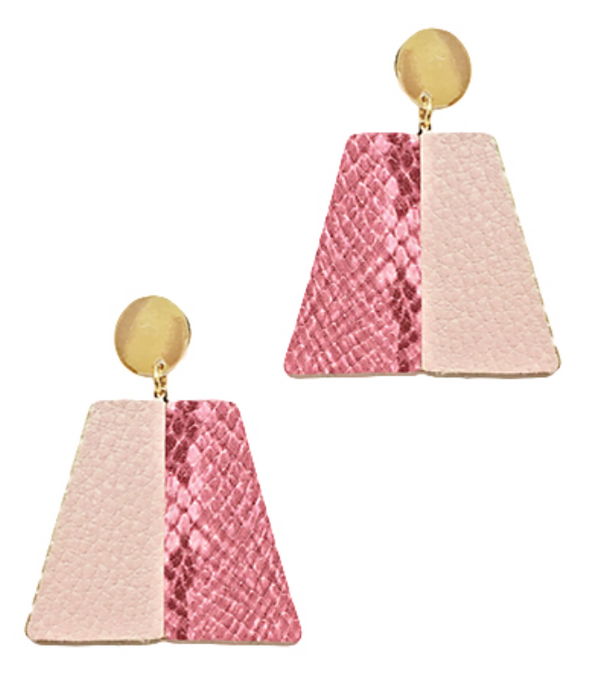 Light Pink Twotone Leather Trapezoid Earrings