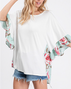 Off White/Mint Back Floral Top
