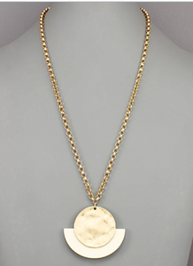 White Wood Wedge Disc Necklace