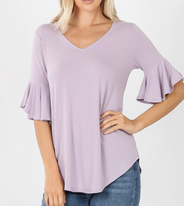 Lavender Waffle Sleeve Top