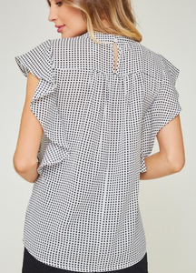 White Ruffle Sleeve Polka Dot Blouse