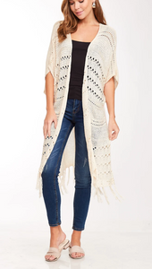 Natural Knit Long Body Cardigan