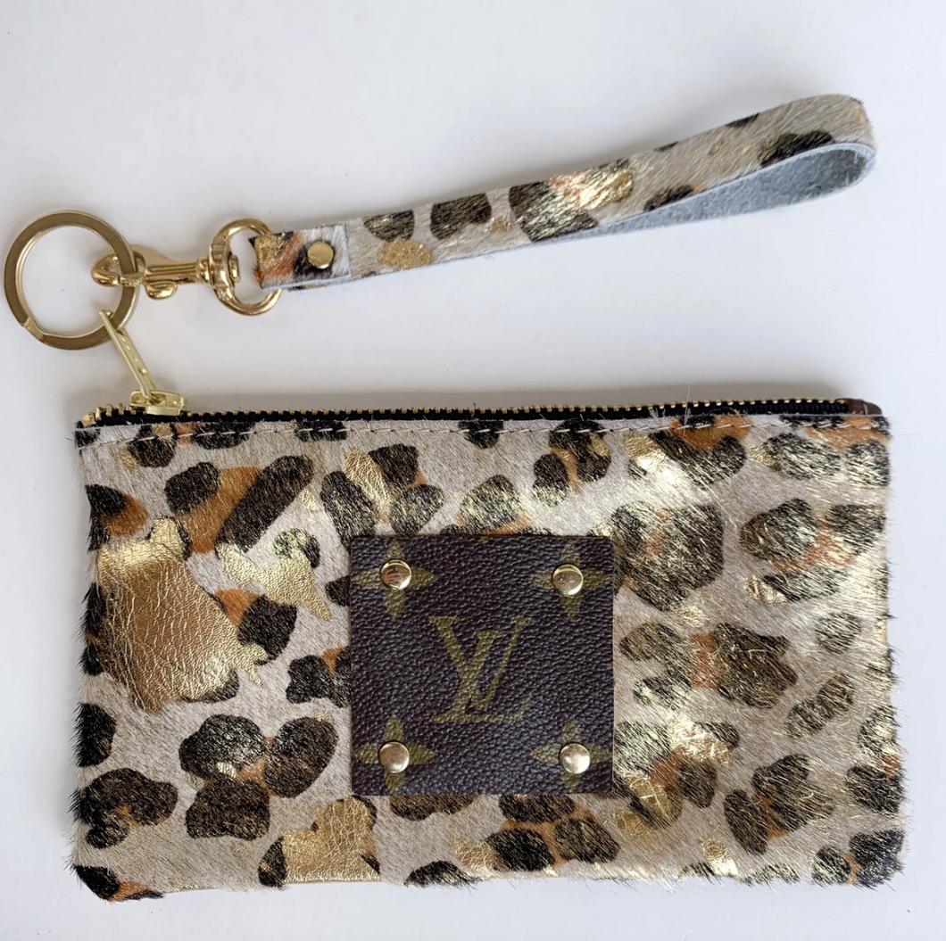 Authentic Cowhide/Louis Patch Wristlet