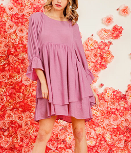 Orchid Ruffle Sleeve Dress