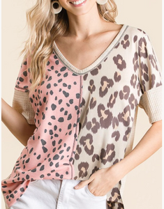 Blush V Neck Animal Print Top