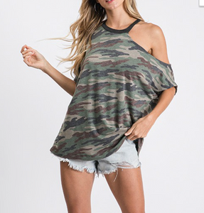 Camo Asymmetric Neck Top