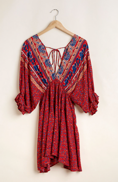 Red V Neck Mix Print Dress
