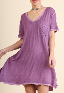 Purple Washed V Neck Pocket Dress