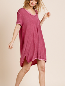 Wine Washed V Neck Pocket Dress