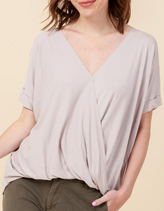 Tan Surplice Front Top