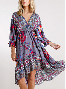 Paisley Print High/Low Dress