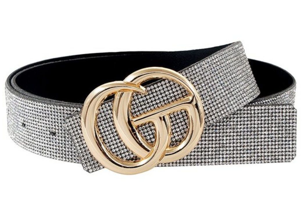 Silver Crystal Coated Belt