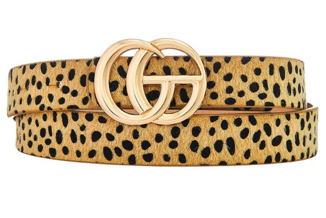 Beige Leopard Fur Belt (Medium Sized GC)