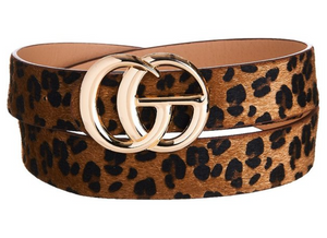 Brown Faux Leopard Belt
