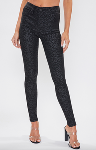 Black Cheetah Skinny Pants