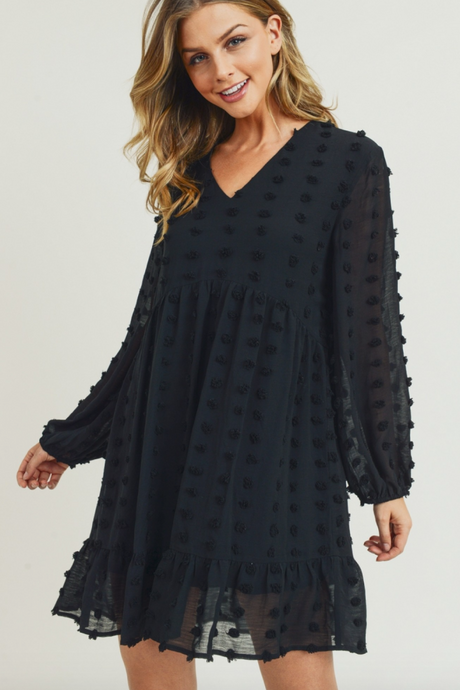 Black Swiss Dot Dress