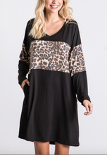 Black/Leopard V Neck Dress