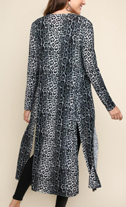 Stone Grey Cheetah Duster