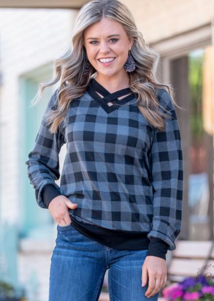 Plaid Criss-Cross Sweater