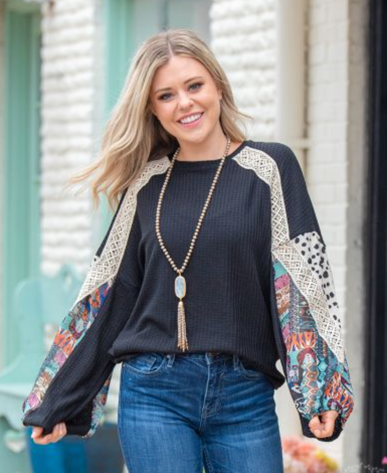 Black Laced In the Sky Waffle Knit Top